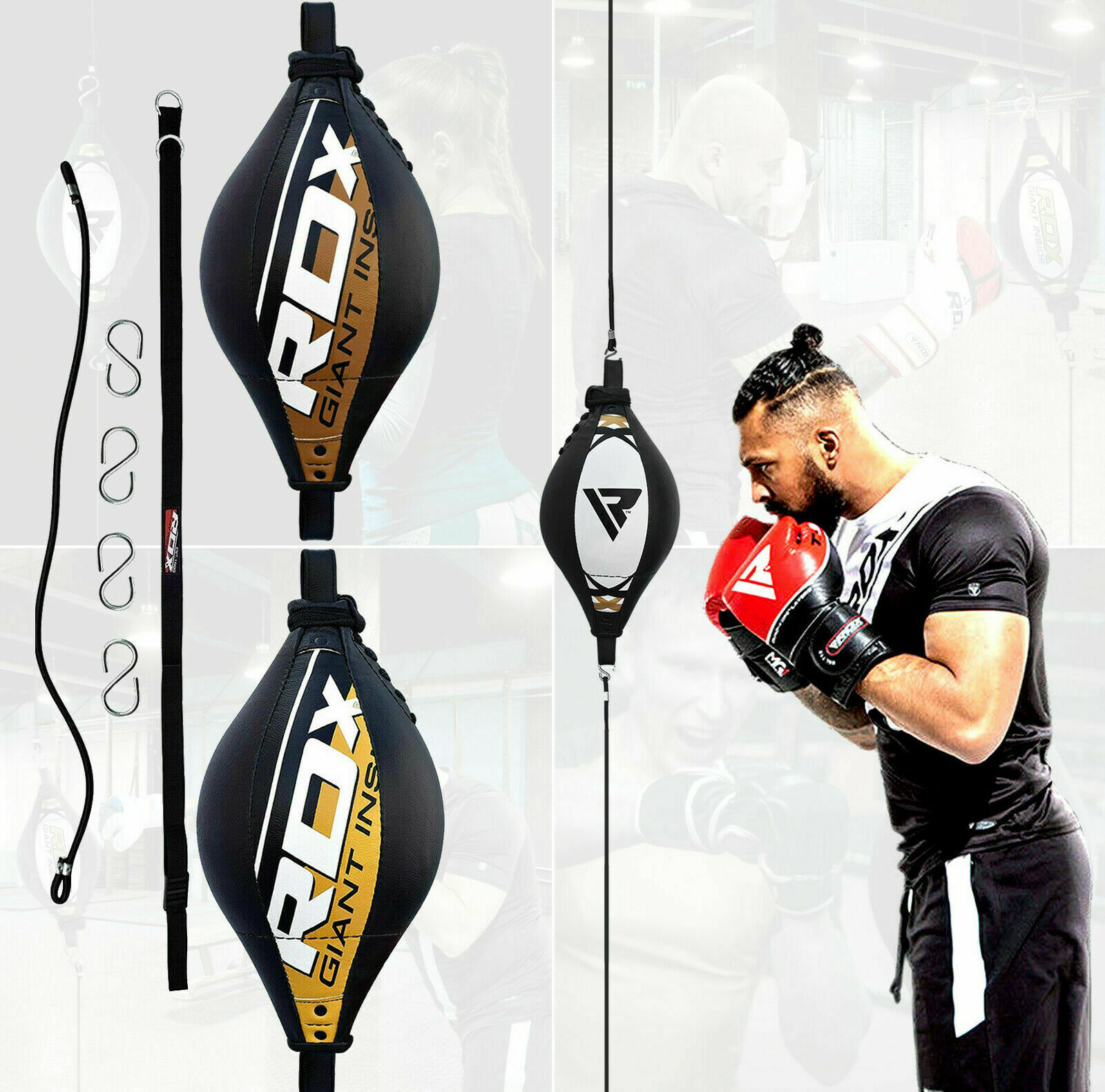 1x Double End Ball Ropes Hook,Floor to Ceiling Cords Punch Bag Speed MMA Boxing