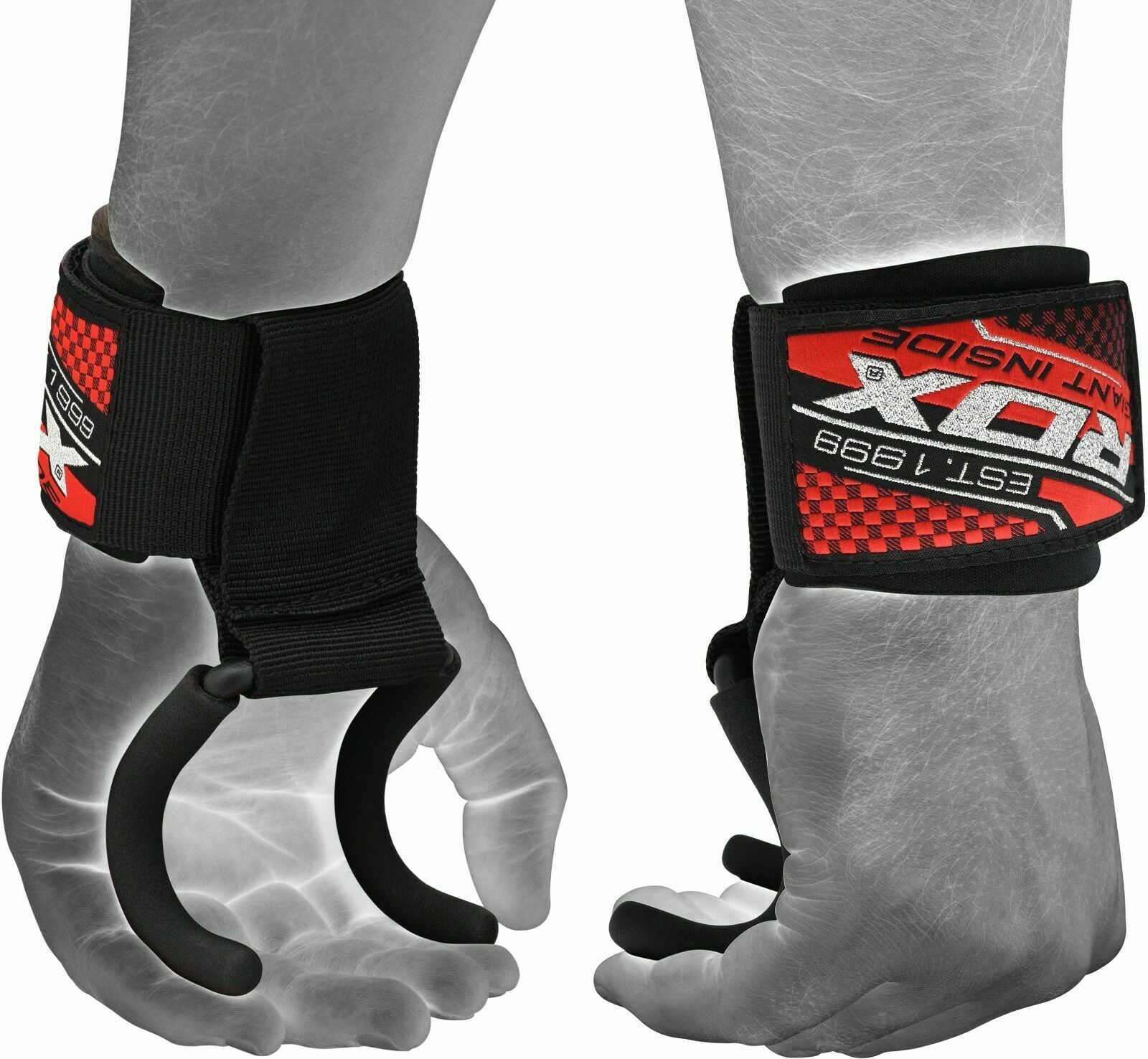 RDX Weight Lifting Training Gym Hook Straps Grips Gloves Wrist Support CA